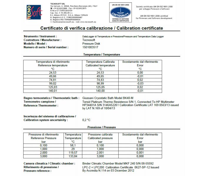 Certificato di calibrazione di pressione