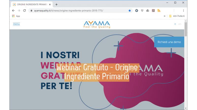 Origin Primary Ingredient - Free webinar from our partner Vida - Ayama