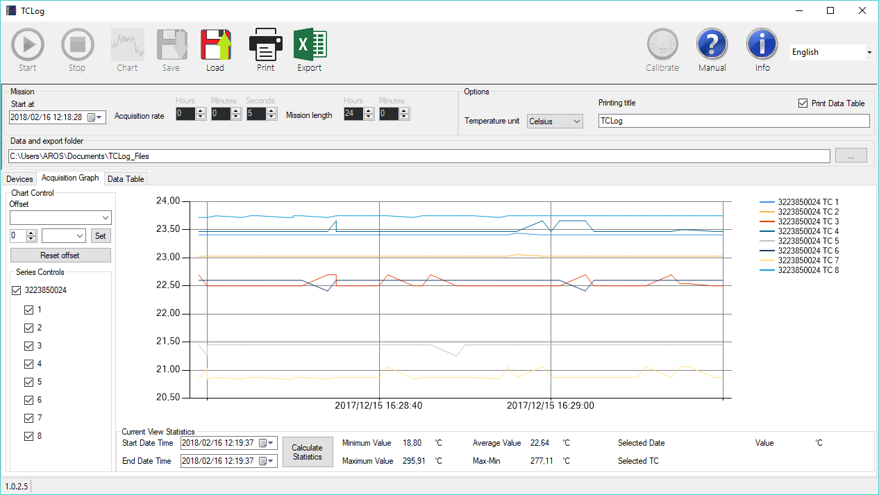 TC-Log thermocouple data logger management software | Tecnosoft