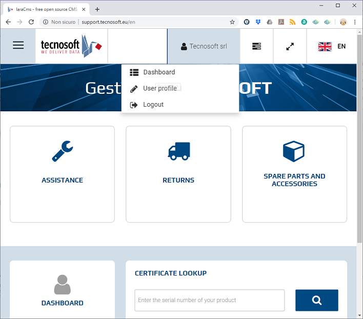 Selecting dashboard for Tecnosoft Online Certificates