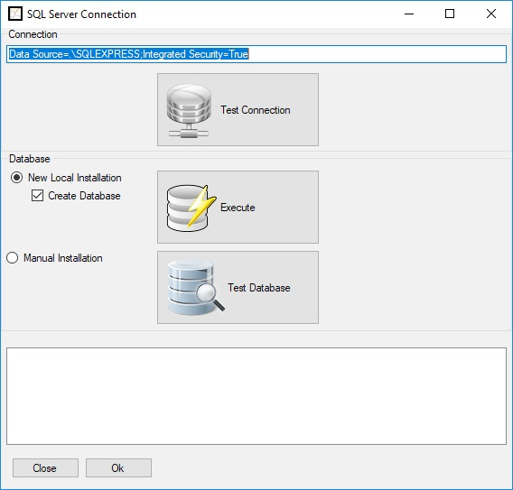 TS Manager Database Connection Window